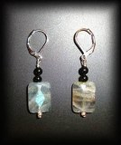 FACETED LABRADORITE+TOURMALINE EARING2(6gr)