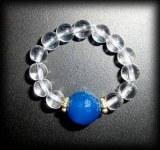 BLUE FACETED AGATE+QUARTZ RING (9gr)