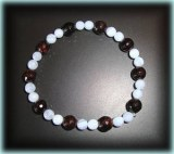 GARNET+FACETED BLUE CALCEDONY BRACELET ( 20gr/elastic)