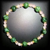 BRACELET SERAPHINITE+QUARTZ ROSE(15gr/élastique)