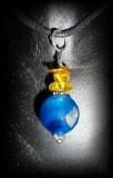 PENDENTIF AGATE BLEUE FACETTEE+AMBRE(6gr/2.5cm)