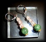 BOUCLES OREILLE SERAPHINITE+QUARTZ ROSE(10gr/dormeuse)