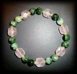 BRACELET SERAPHINITE+QUARTZ ROSE FACETTE(25gr/élastique)