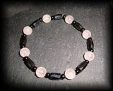 BRACELET QUARTZ ROSE MAGNETIQUE+TOURMALINE (LE TOP!!!) ( 20gr/élastique)