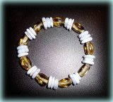 BRACELET CITRINE VERITABLE+CALCEDOINE BLEUE(32gr/élastique)