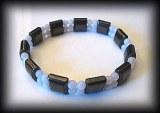 BRACELET CALCEDOINE BLEUE MAGNETIQUE(LE TOP!!!) ( 30gr/élastique)