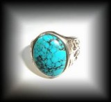 BAGUE TURQUOISE REGLABLE 2( 11 gr/taille 52)